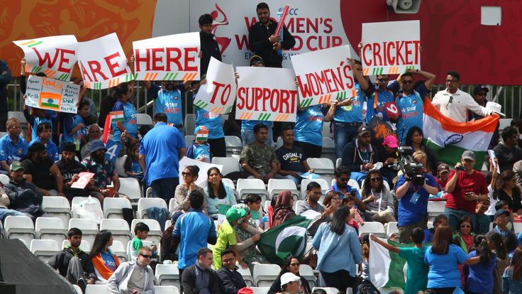 India fans during the ICC Women's World Cup match between India and Pakistan at The 3aaa County Ground on July 2, 2017 in Derby, England ICC Women's World Cup Match 11 - India v Pakistan, Derby