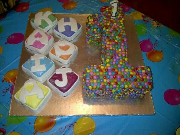 This cake i made for my adorable daughter Khadija for her 1st bday. A mini smarties cover number 1 and her name i spelt out of cake blocks covered in plastic icing.