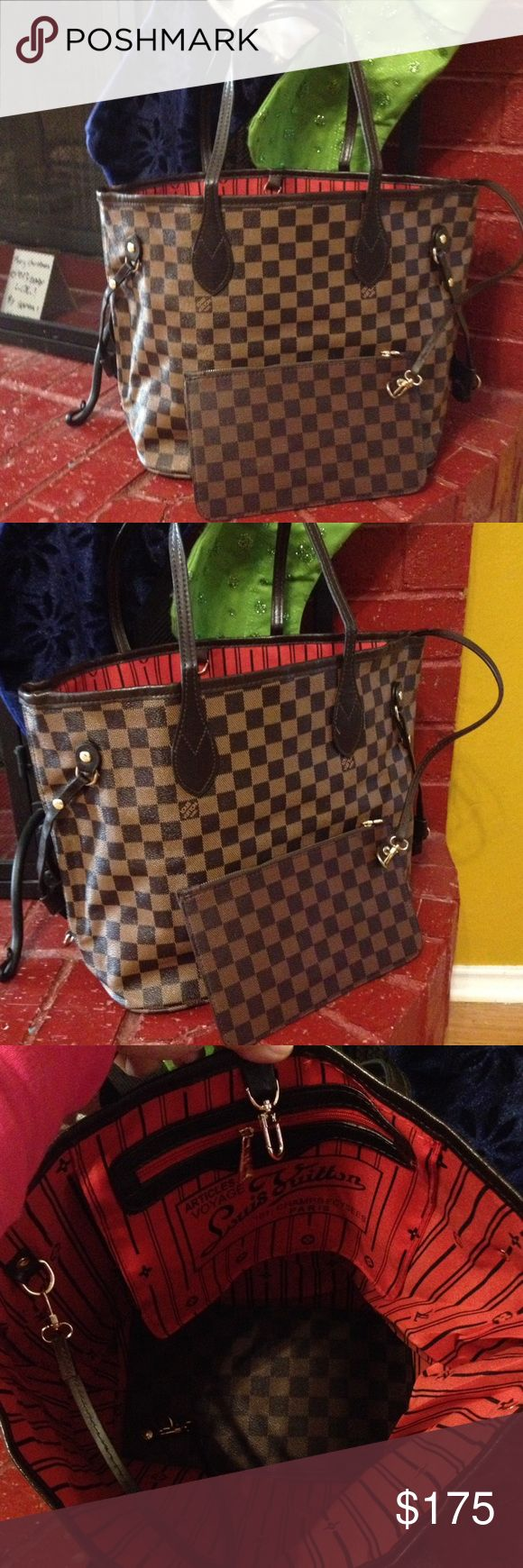 Neverfull Mm set bag Included pouch. Brand new.. Cute medium bag. Price reflect auth. I accept reasonable offers. Ship as today Louis Vuitton Bags Shoulder Bags