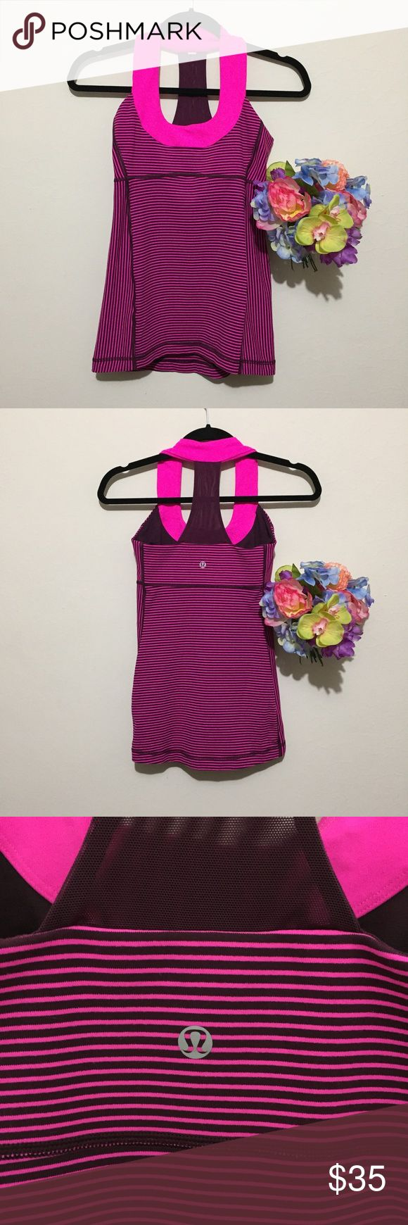 Lululemon Scoop Neck Mesh T Hot Pink Stripe Tank Universally flattering this racerback athletic tank is fun with thin bright pink and maroon stripes and a bright pink circle neckline! No size dot but see measurements for fit! Pit to pit: 13.5 in Length, shoulder to hem: 22.5 in lululemon athletica Tops Tank Tops