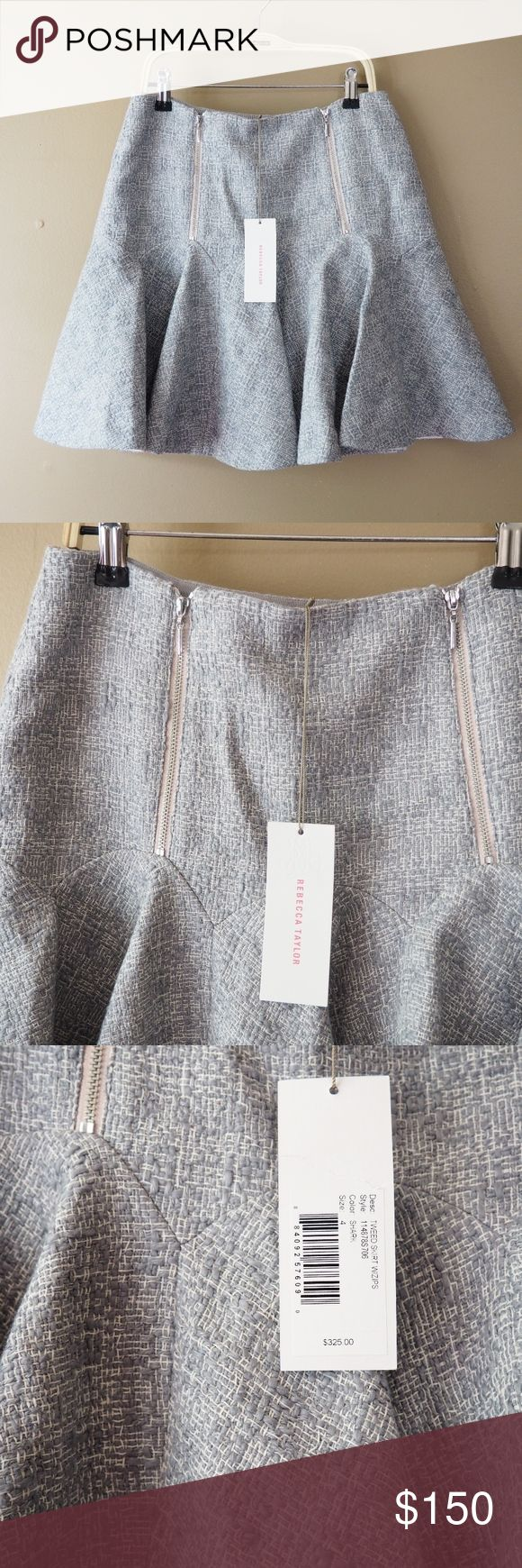 """Rebecca Taylor Grey Double Zip Front Godet Skirt 4 Hello! Up for sale is this Rebecca Taylor NWT Skirt in size 4. Please view all photos and measurements to ensure your perfect fit before purchase! Thank You! :)  $325.00 Value  Dry Clean Only 83% Cotton, 9%Viscose, 6% Acrylic, 2% Other Fibers 100% Slik Lining   Top-Bottom - 18"""" Waist - 14"""" Hips - 19""""  Do not hesitate to message me with any questions you may have!  Have a lovely day! Rebecca Taylor Skirts Mini"""