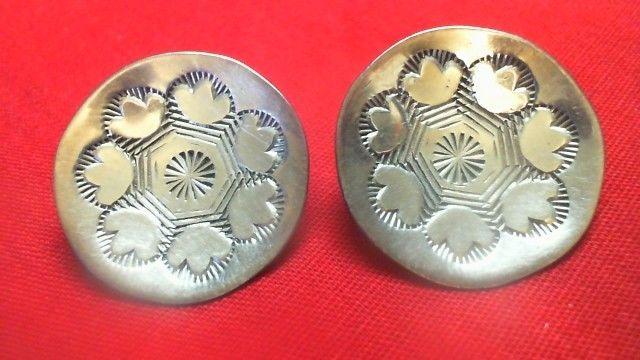 Vintage Marked Sterling Silver Southwestern  Basket  Earrings DV6