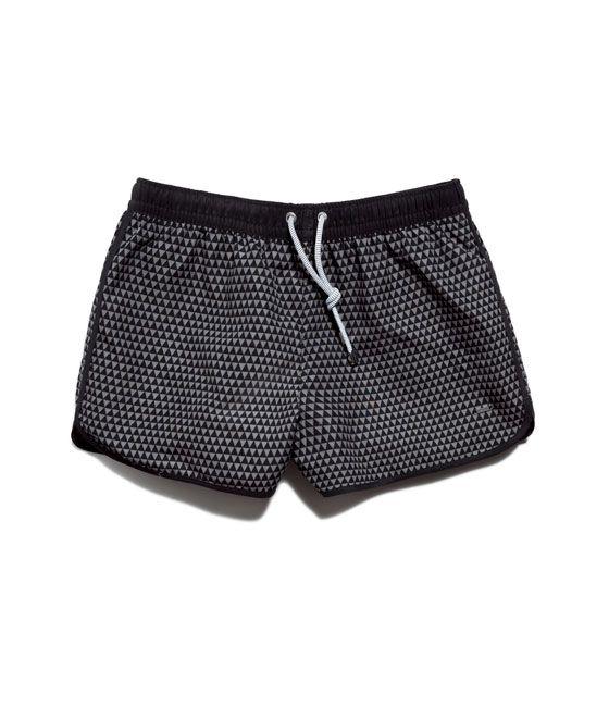 Diamond Pattern Swim Shorts Accessories Man Zara