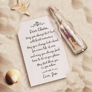 Retirement message in a bottle keepsake, Personalized Retirment Gifts from GiftsForYouNow.com