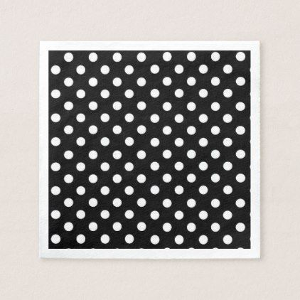 Black and White Polka dots Napkin - retro kitchen gifts vintage custom diy cyo personalize