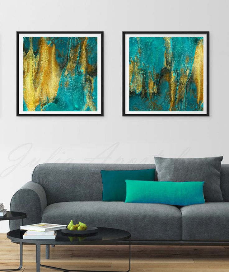 72inch, Turquoise and Gold, Diptych Painting, Art Set, Huge Wall Art, Watercolor…