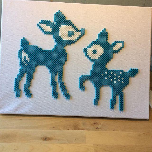 Deer on canvas hama beads by michelleparlar