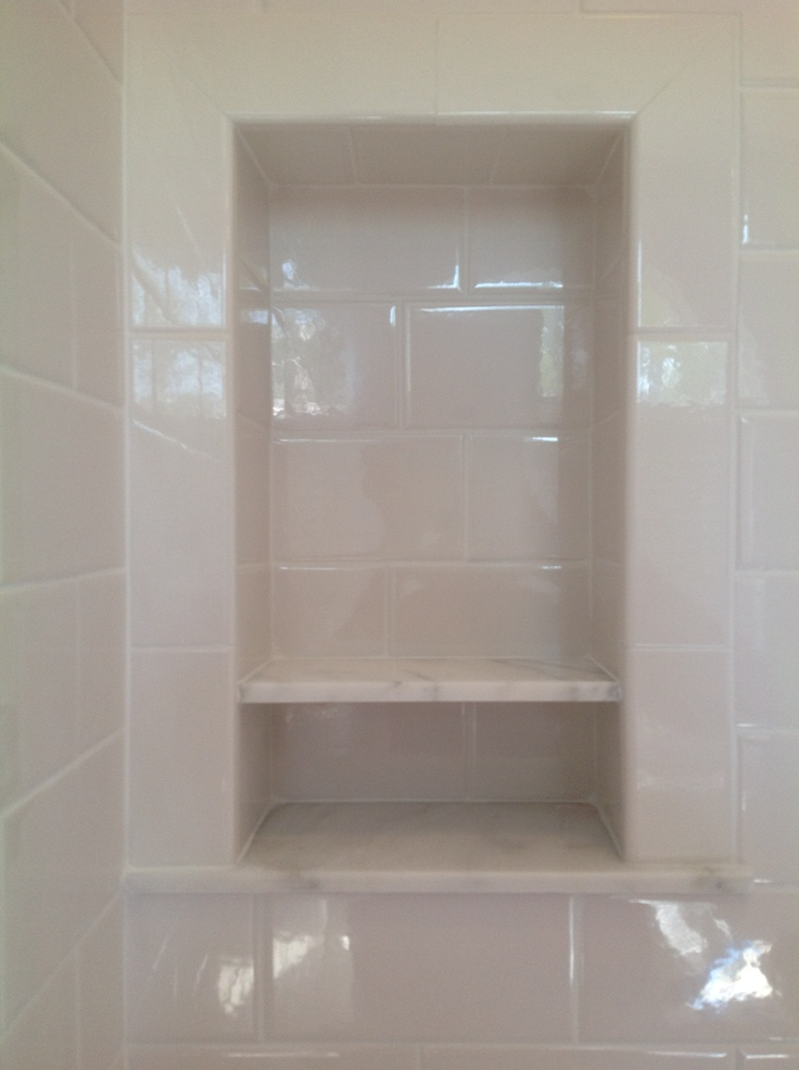 Subway Tiles And 2 Slightly Pitched Shelves Colorado Gold Marble I