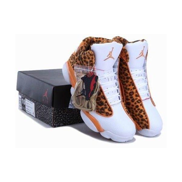 Cheetah Print Air Jordan 13 Leopard Orange White New Jordans Shoes... ❤ liked on Polyvore featuring shoes, sneakers, orange sneakers, white leopard shoes, cheetah shoes, white trainers and white shoes