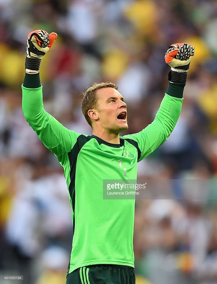 Manuel Neuer of Germany celebrates his team's first goal during the 2014 FIFA World Cup Brazil Group G match between Germany and Ghana at Castelao on June 21, 2014 in Fortaleza, Brazil.