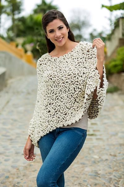 100% alpaca poncho, 'Snow Maze' - Short Crocheted Alpaca Poncho in White over Brown from Peru