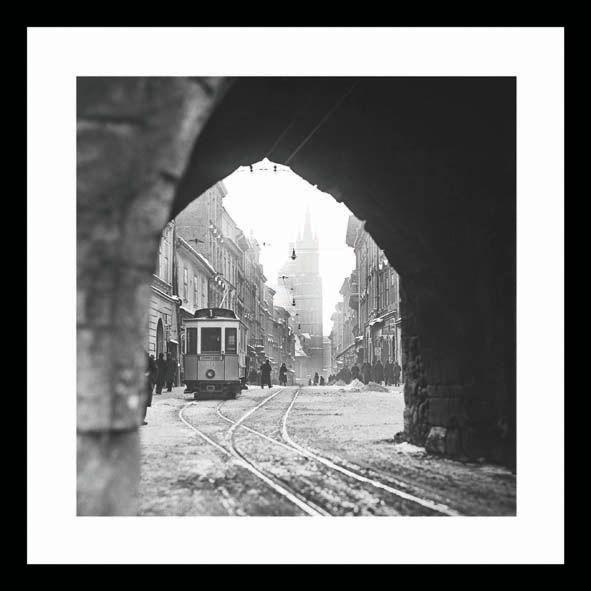 A view through Florianska Gate, Cracow. Year 1929