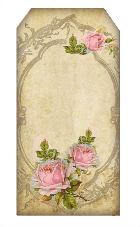Vintage Rose Tag / Vintage Rose Framed Stationery / Ammey's Art Attic
