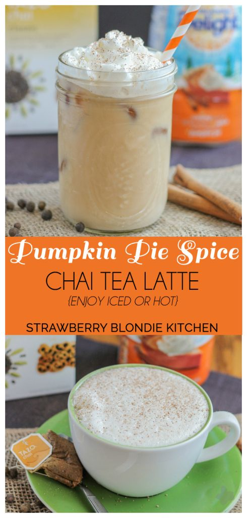 Kick start this fall season with a Pumpkin Pie Spice Chai Tea Latte. Pumpkin Pie creamer blended with seasonal spices such as cinnamon, ginger and cardamom in chai tea, meld together perfectly to bring you a delightfully warm {or iced latte} perfect for those crisp autumn mornings #DelightfulMoments #Ad @walmart  | Strawberry Blondie Kitchen