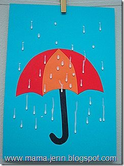 Make umbrella, dab school glue and hang up to dry -  like the glue rain