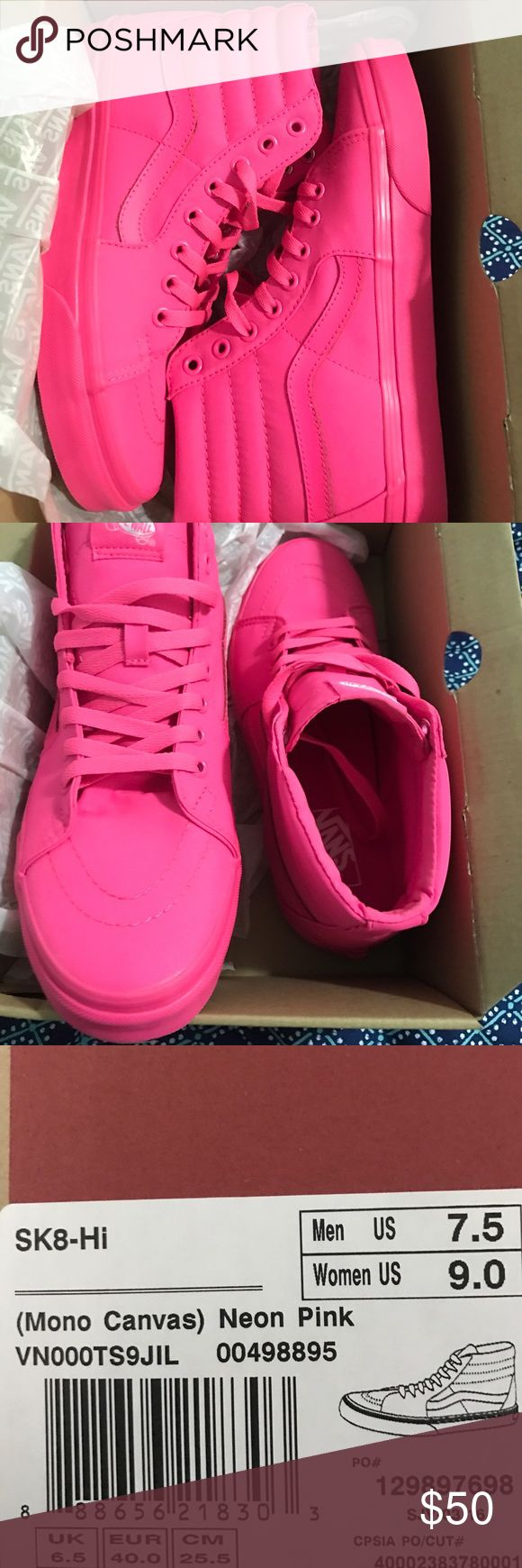 Vans Neon Pink High Top Sneakers These Vans are a size 9 in women's. They're in great condition, only worn twice! They still have their original box and wrapping. Vans Shoes Athletic Shoes