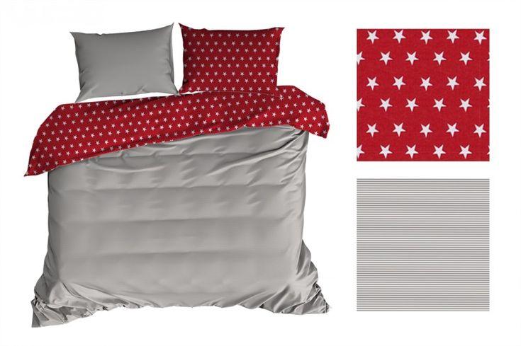 Obojstranné červené posteľné obliečky s hviezdičkami