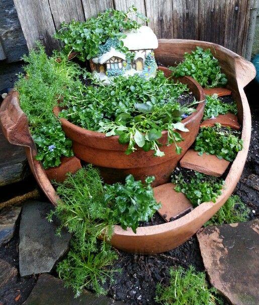 Incredible Broken Pot Ideas Recycle Your Garden: Broken Pot Fairy Garden