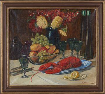 ALVHILD BRATT 1882 - 1964  Stilleben med hummer, 1925 Olje på lerret, 57x65 cm Signert og datert nede til høyre: A. Brat 1925