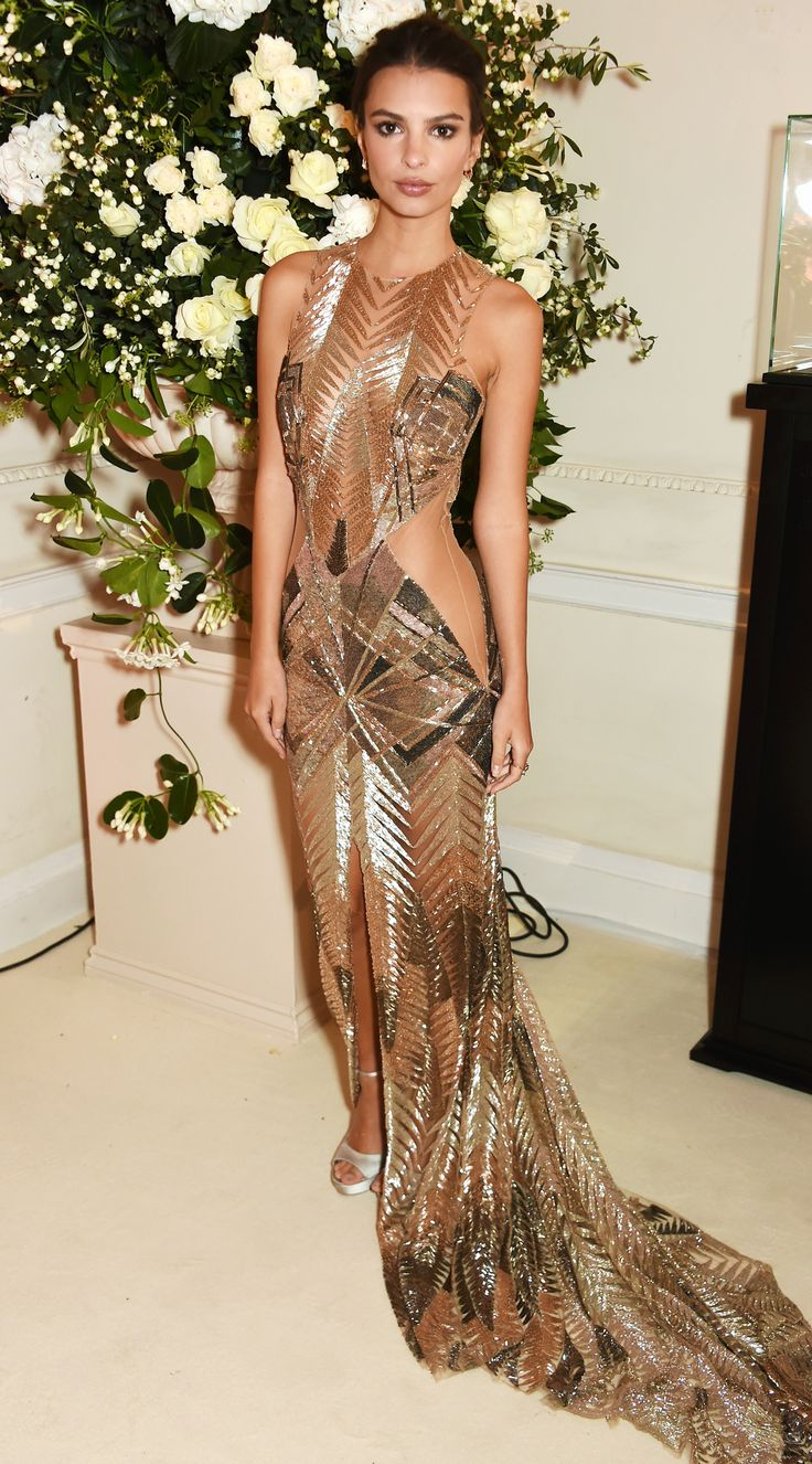 See Emily Ratajkowski in gold at the VIP preview of London's famed members-only club, Annabel's.