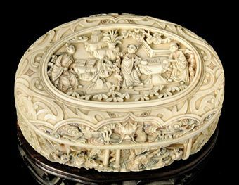a carved and stained ivory box 19th century
