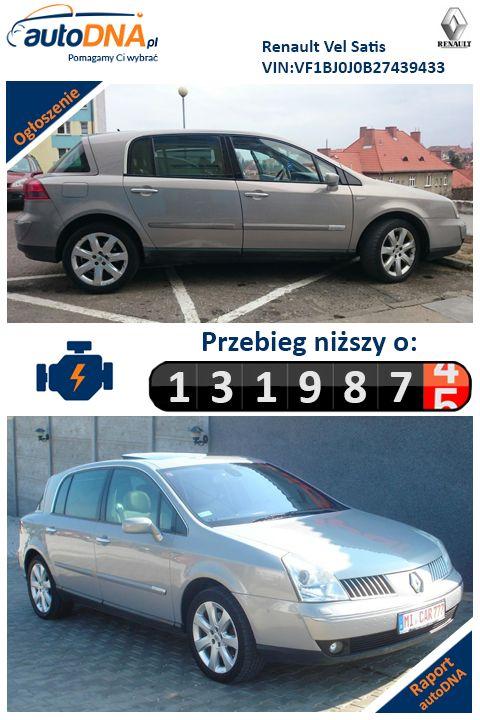 Baza autoDNA - UWAGA! #Cofniętyprzebieg Renault Vel Satis (fr. Vélocité et Satisfaction (pol. szybkość i satysfakcja)) – samochód osobowy klasy premium produkowany przez koncern Renault w latach 2001 - 2009. http://www.autodna.pl/vin/VF1BJ0J0B27439433/renault-inne-2002/9d446b13dddf17e79d0e8533d332665d