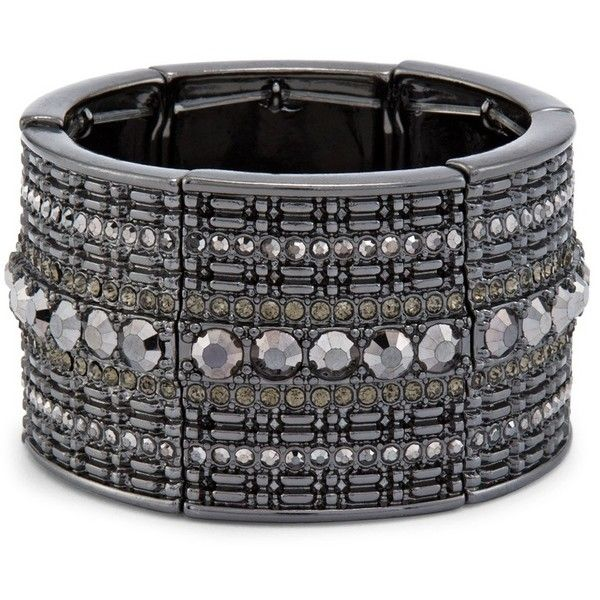 Chico's Jillian Simulated Black Diamond Bracelet ($59) ❤ liked on Polyvore featuring jewelry, bracelets, black diamond, artificial jewellery, stretch bracelet, black diamond bracelet, imitation jewellery and artificial jewelry