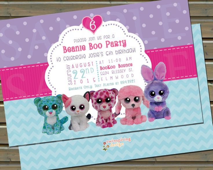 20 or 30 Printed Beanie Boo Birthday Party Invitations and Thank You Notes by TwinspiringDesign on Etsy