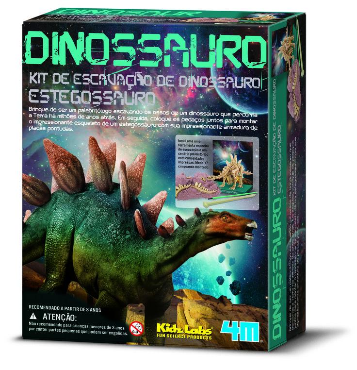 Esse é do Pterossauro - embutido em um bloco de gesso, para a criança cavar e escavar usando ferramentas especiais, escova, instruções detalhadas e divertidas curiosidades. Ao final, é só montar as partes do gigante animal que viveu na Terra e o exibir em seu próprio museu.