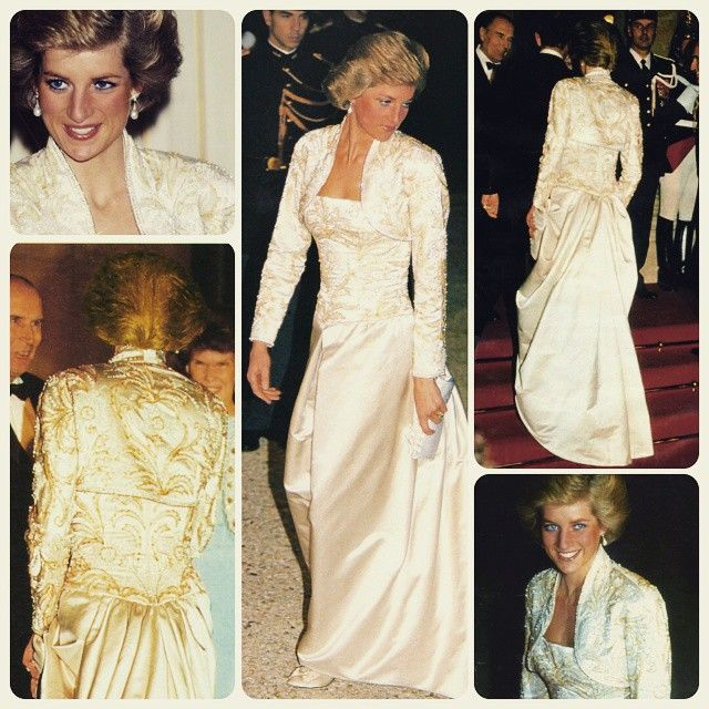"""07 November 1988: Princess Diana arrives to a state banquet at the Elysee Palace in Paris, on her first official visit to France, wearing an oyster duchesse satin dress, designed by Victor Edelstein, with a bodice and a matching bolero embroidered by Hurel with flowers and birds in simulated pearls, paste and beads in white, silver and gold. There is also a tucked bustle effect of the skirt at the back"