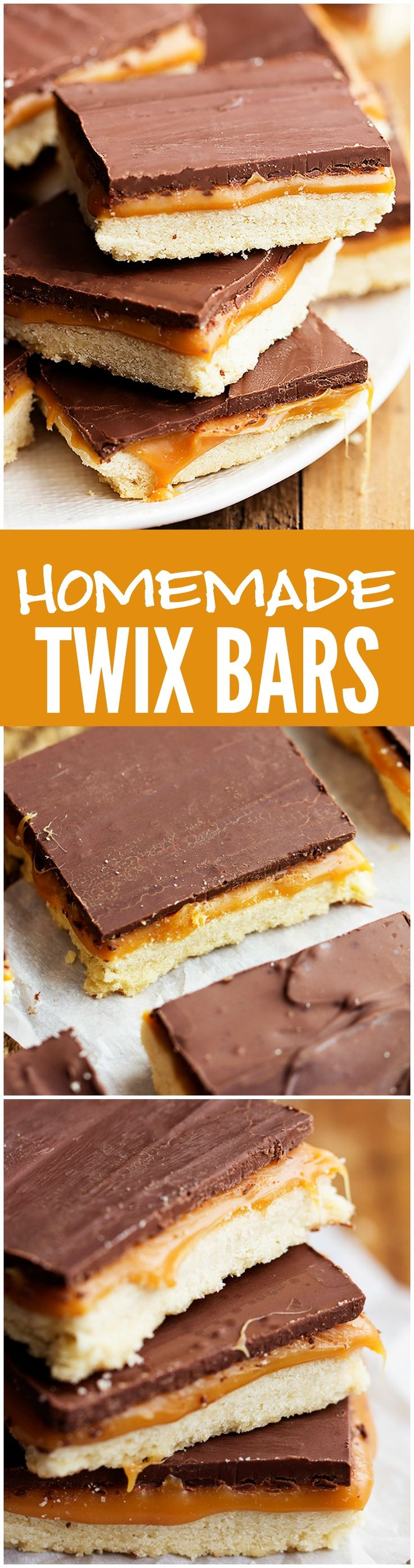 These Homemade Twix Bars taste EXACTLY like the real thing! Shortbread, caramel and chocolate create these heavenly bars!