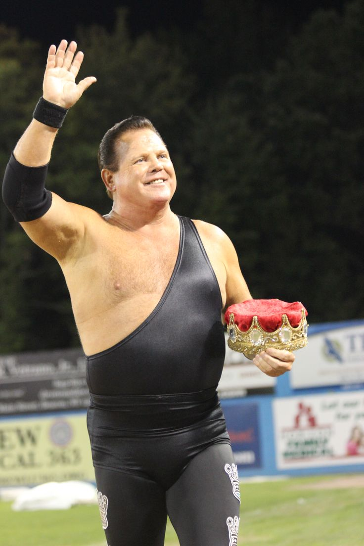 "Jerry ""The King"" Lawler makes his grand entrance during Wrestling Under the Stars II at Dutchess Stadium in Wappingers Falls, NY."