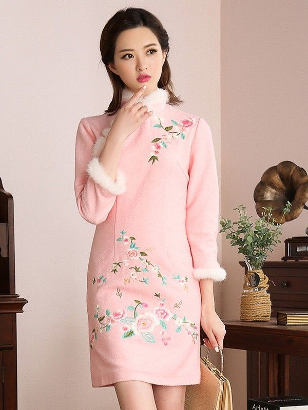 Mink Pink Fur-Trim Embroidered Qipao / Cheongsam Dress