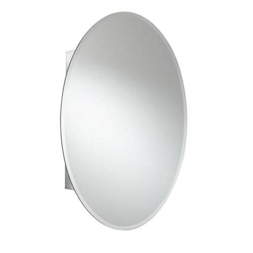 Croydex Orwell 31-Inch x 21-Inch Oval Recessed or Surface Mount Medicine Cabinet with Hang 'N' Lock Fitting System, Aluminum