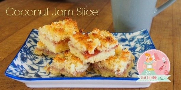 Coconut Jam Slice | Stay at Home Mum