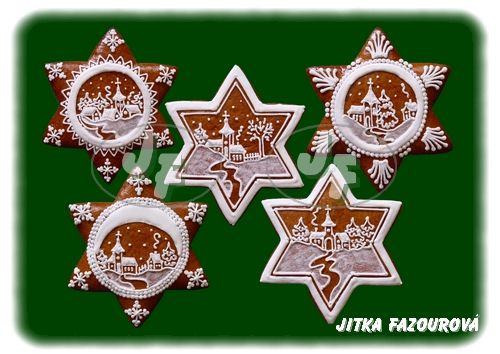 Czech gingerbread Christmas trees. The detail is amazing!