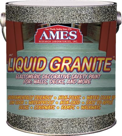Liquid Granite® is ideal for:  Stairways and Walkways • Porches and Patios   Concrete Decks • Decks • Roof Decks • Basements   Walls • Concrete • Metal • Wood