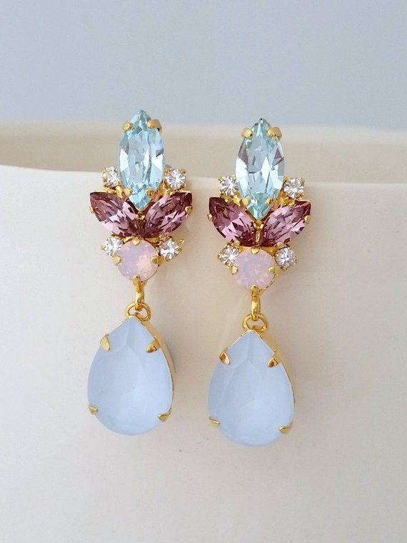 c24810ec5e30c5 Light blue earrings,Bridal earrings,Blue opal chandelier earrings,Blue pink  earrings,