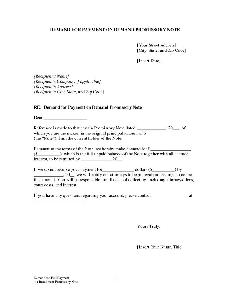 Demand for Payment on Demand Promissory Note by LegalZoom - marriage contract template