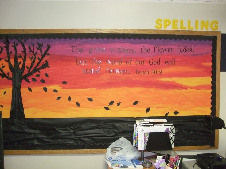Beautiful Fall Bulletin Board: The Grass Withers, And The