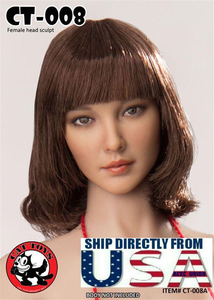 1//6 American Female Head Sculpt A BROWN Hair For PHICEN Hot Toys Figure U.S.A.