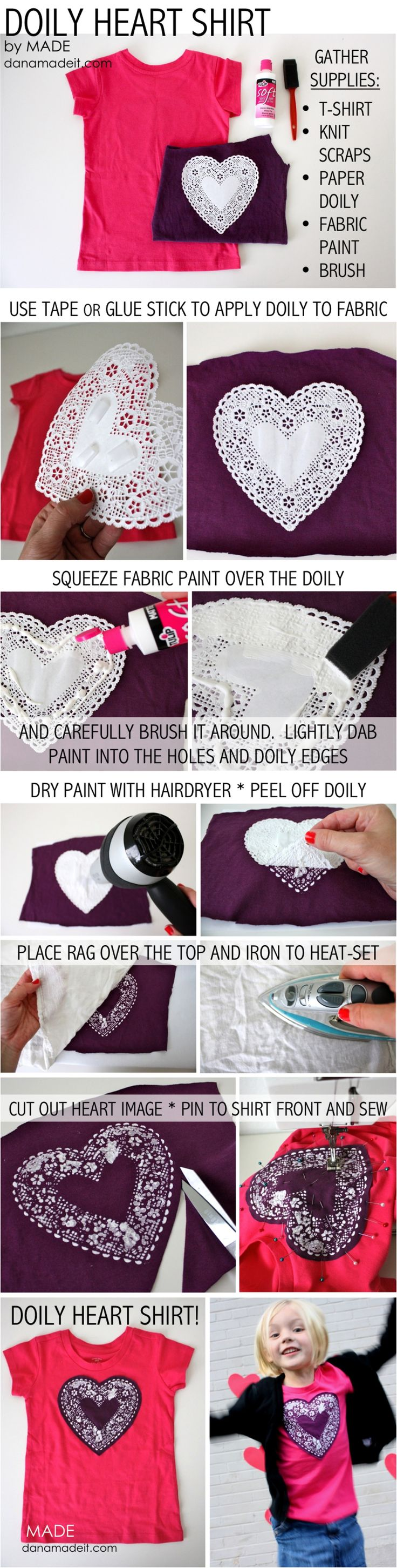Doily Heart Shirt tutorial