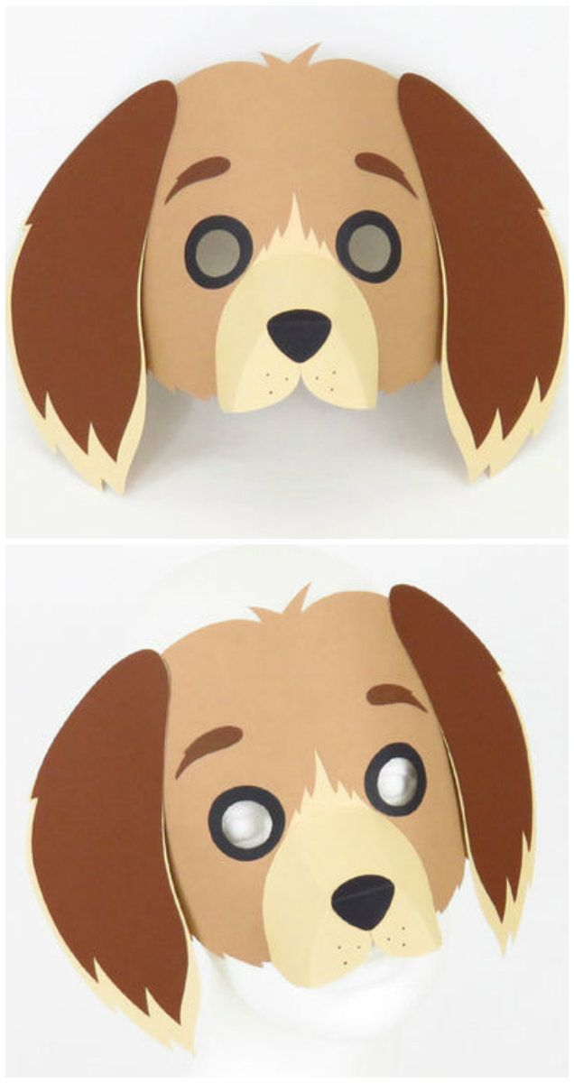 Tiermaske Hund für Kinder - Vorlage und Bastelanleitung via Makerist.de