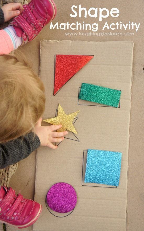 Simple DIY shape puzzle activity for babies and toddlers. Great for learning shapes and colours.  - Laughing Kids Learn