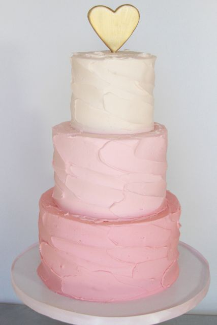 Pink ombre and gold heat topper cake