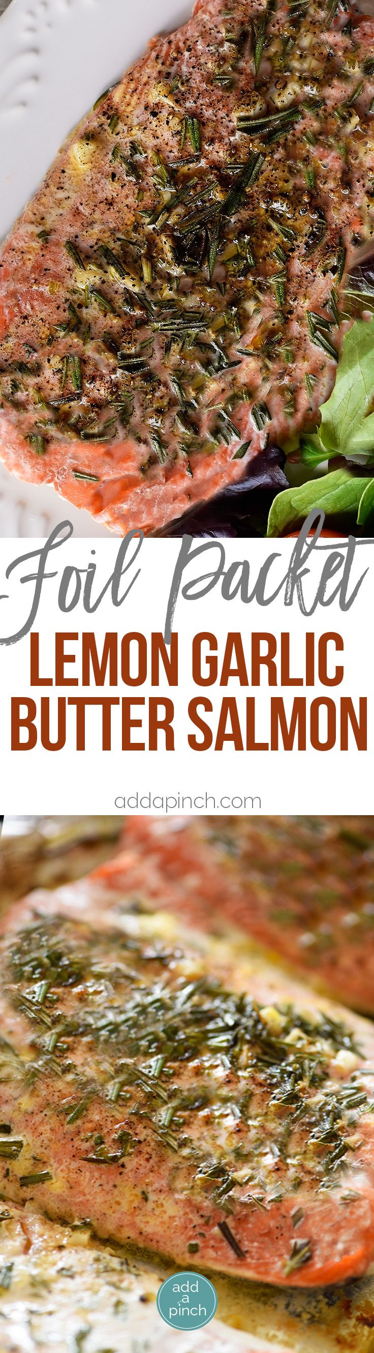 Lemon Garlic Butter Salmon Recipe - This Lemon Garlic Butter Salmon recipe makes a quick and easy recipe! Baked in a foil packet for incredibly tender salmon with easy cleanup! // addapinch.com