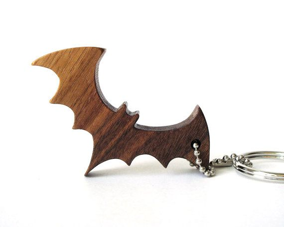 Bat Key Chain Silhouette Wood Animal Key Chain Bat Key Ring Walnut Hand Cut Scroll Saw