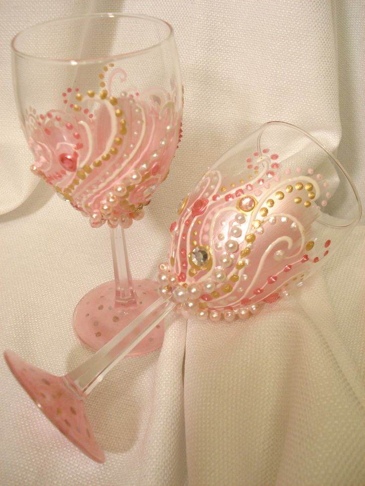 2 Hand Painted Pink Pearled and Jeweled wine glasses. Pink wine glasses, Jeweled…
