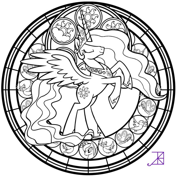 Stained Glass Celestia Take 2 Line Art By Akili Amethyst Princess CelestiaPrincess LunaLittle PrincessKids ColoringFree ColoringColoring SheetsAdult