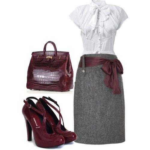 how to wear a burgundy skirt